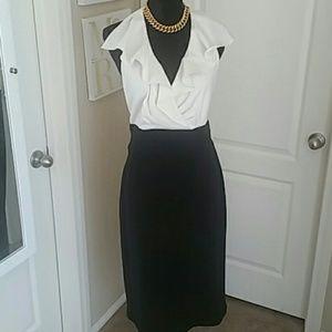 Black and Cream Dress Sz 14